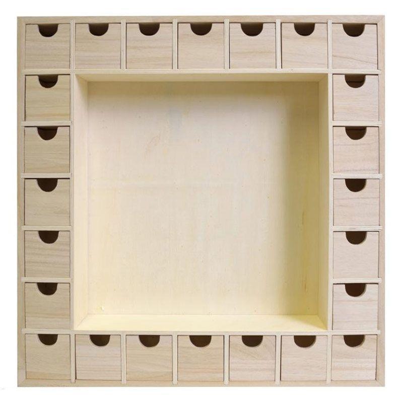 Calendrier de l'Avent bois carré 39x39cm