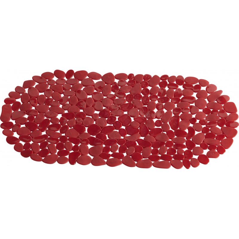 Tapis de bain anti-dérapant 70x35cm Rouge Galet