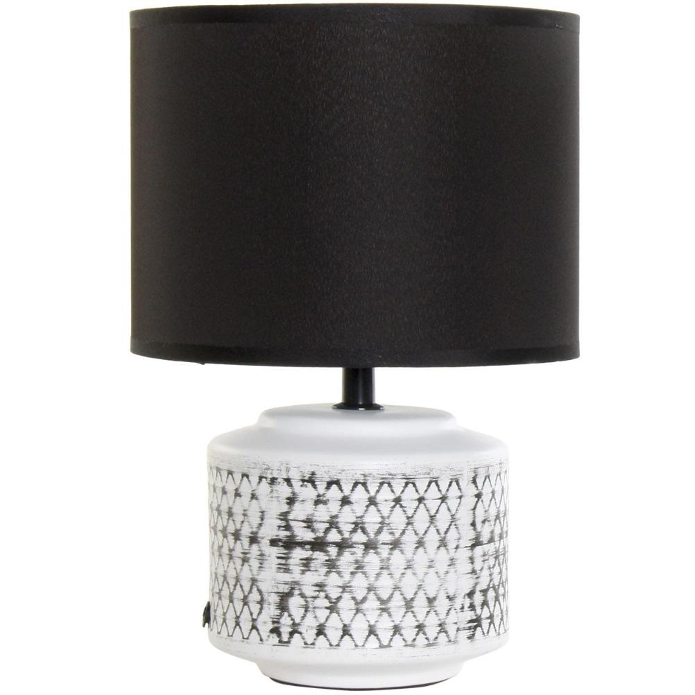 Petite lampe en céramique blanche et noire H30cm