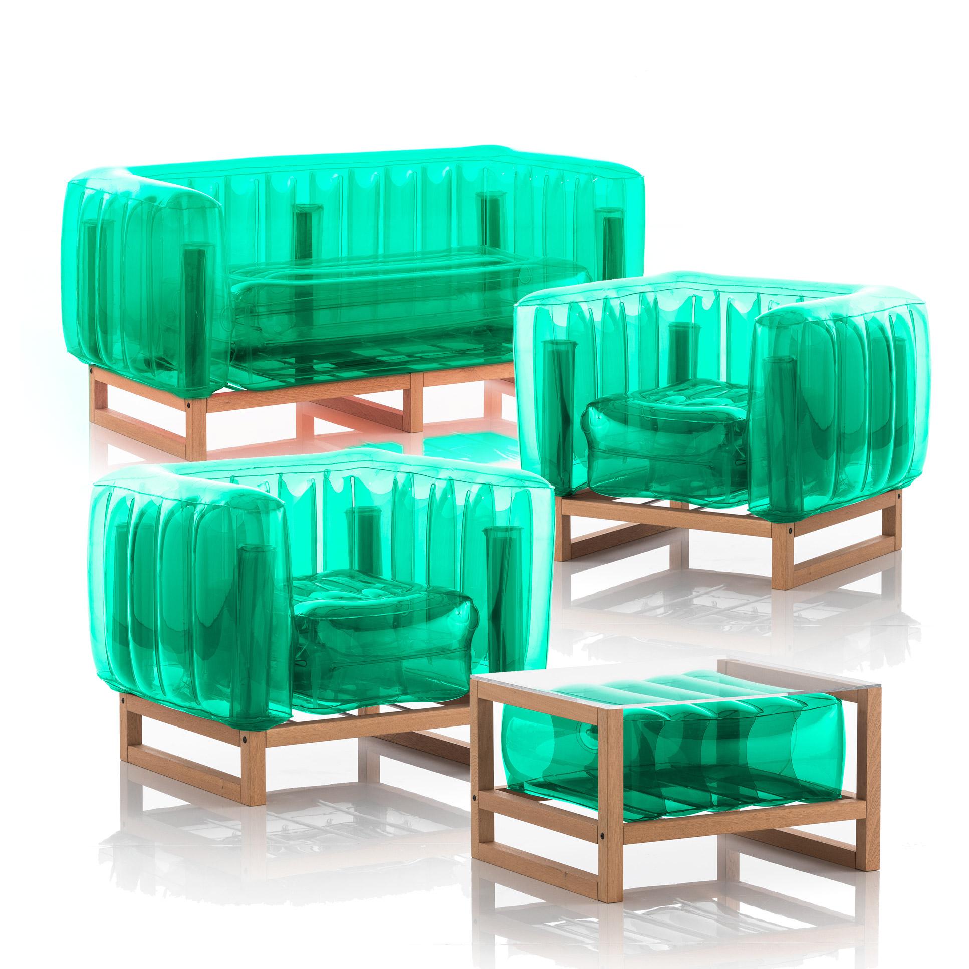 Salon de jardin design 1 canapé, 2 fauteuils et table basse vert