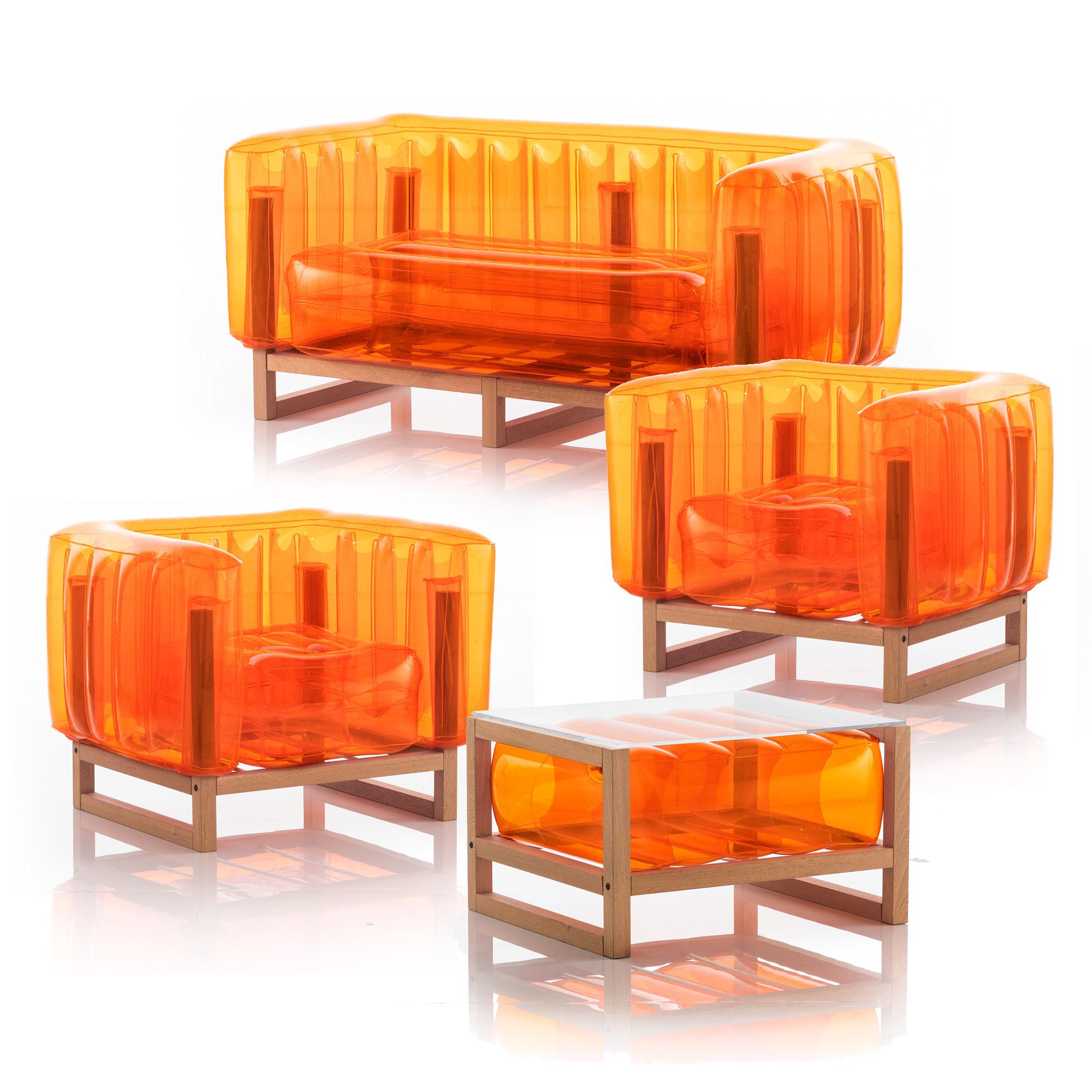 Salon de jardin design 1 canapé, 2 fauteuils et table basse orange