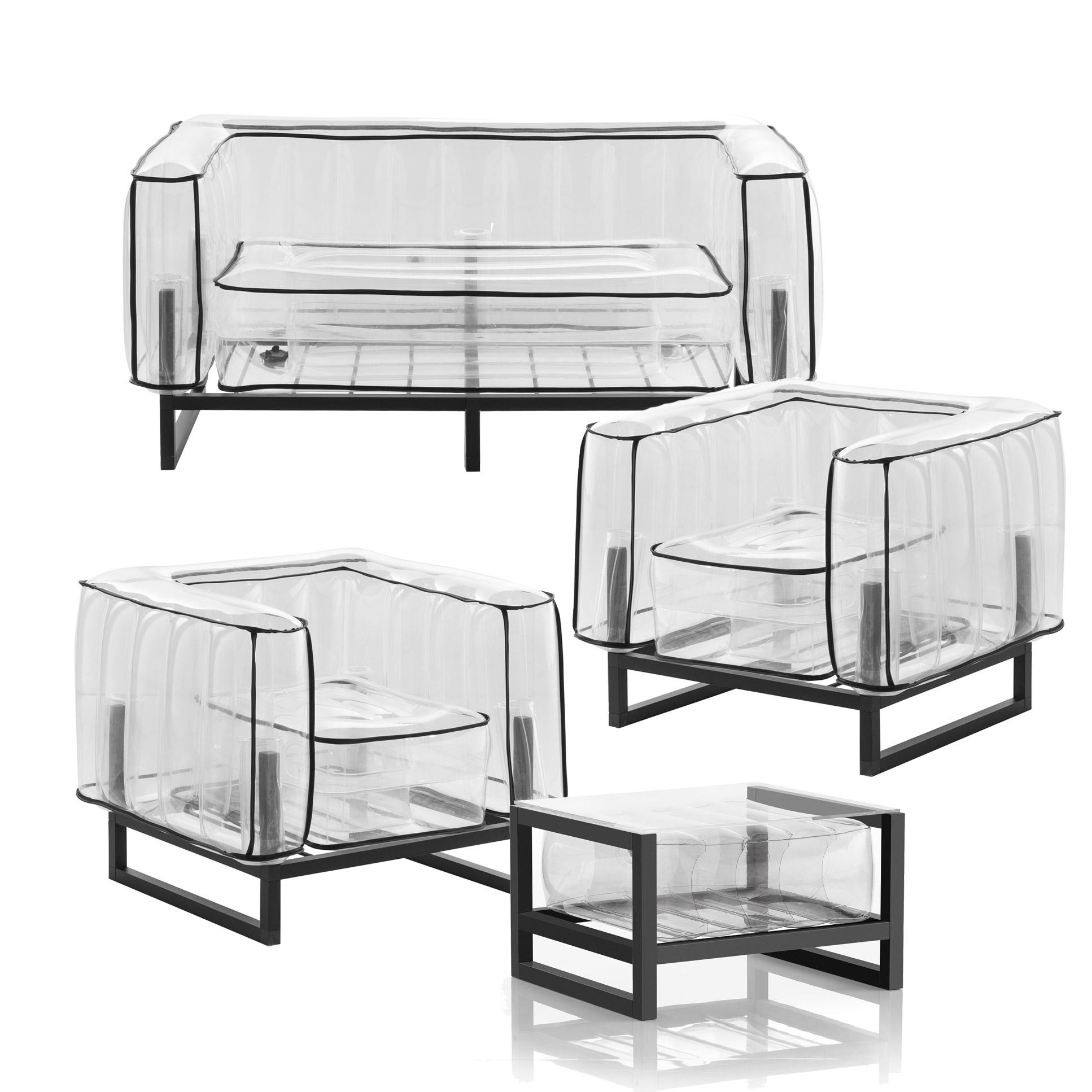Salon de jardin design et table basse Passepoil noir