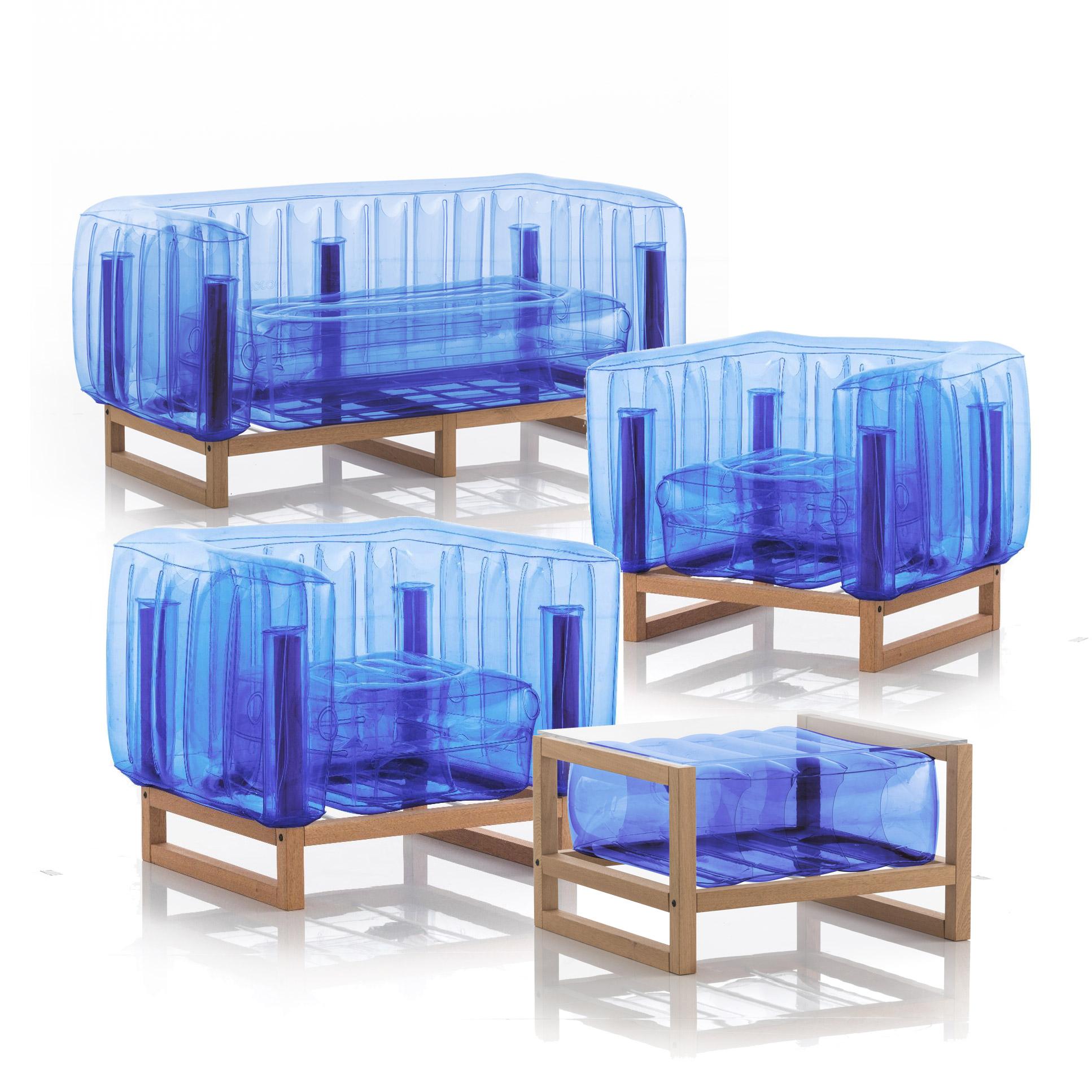 Salon de jardin design 1 canapé, 2 fauteuils et table basse bleu