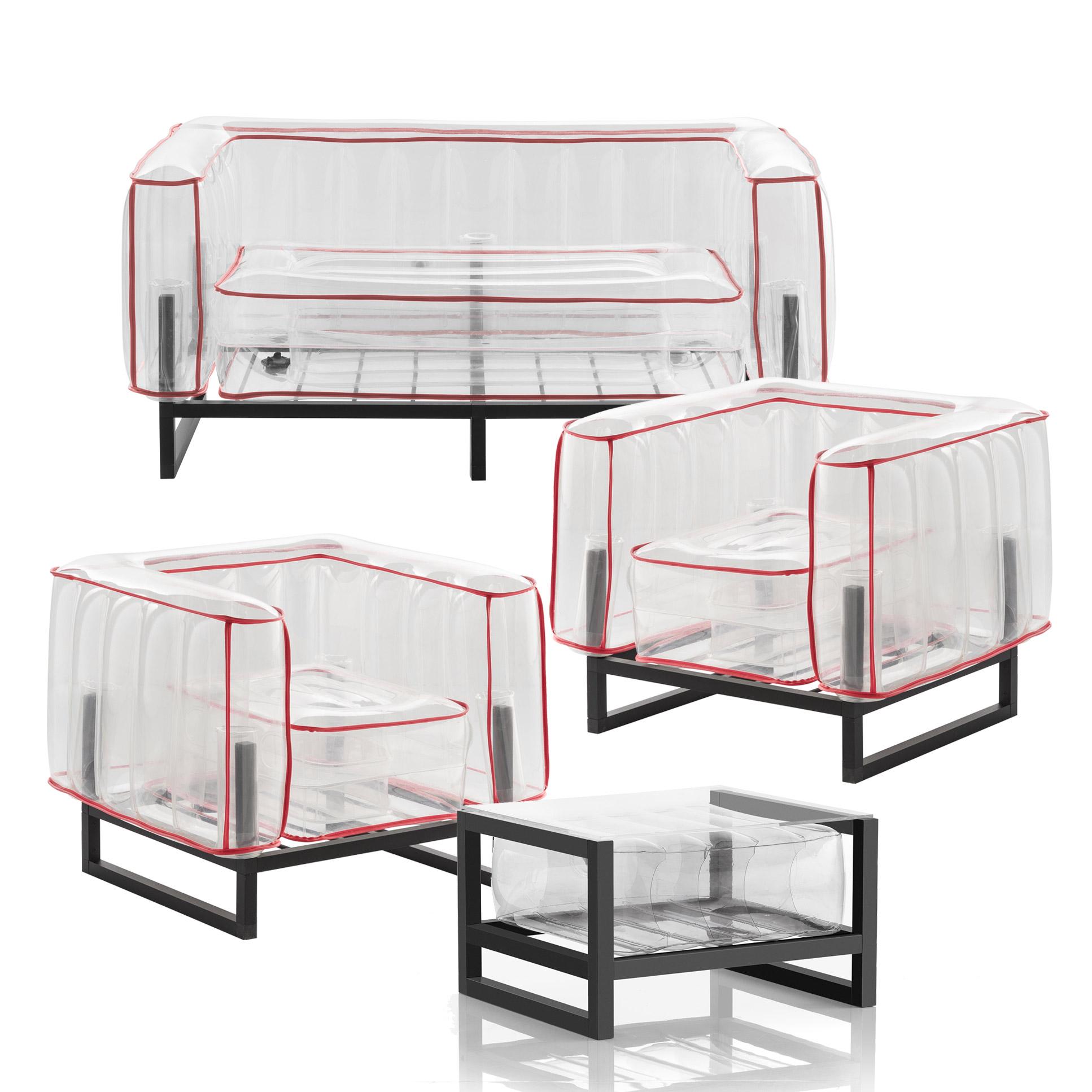 Salon de jardin design et table basse Passepoil rouge