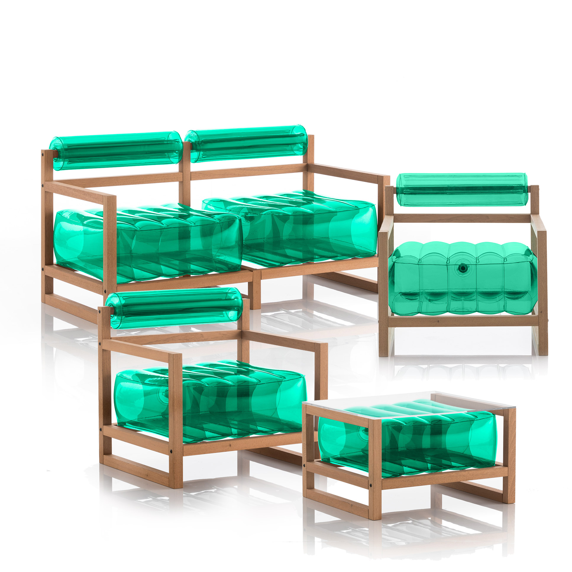 Salon de jardin design et table basse vert