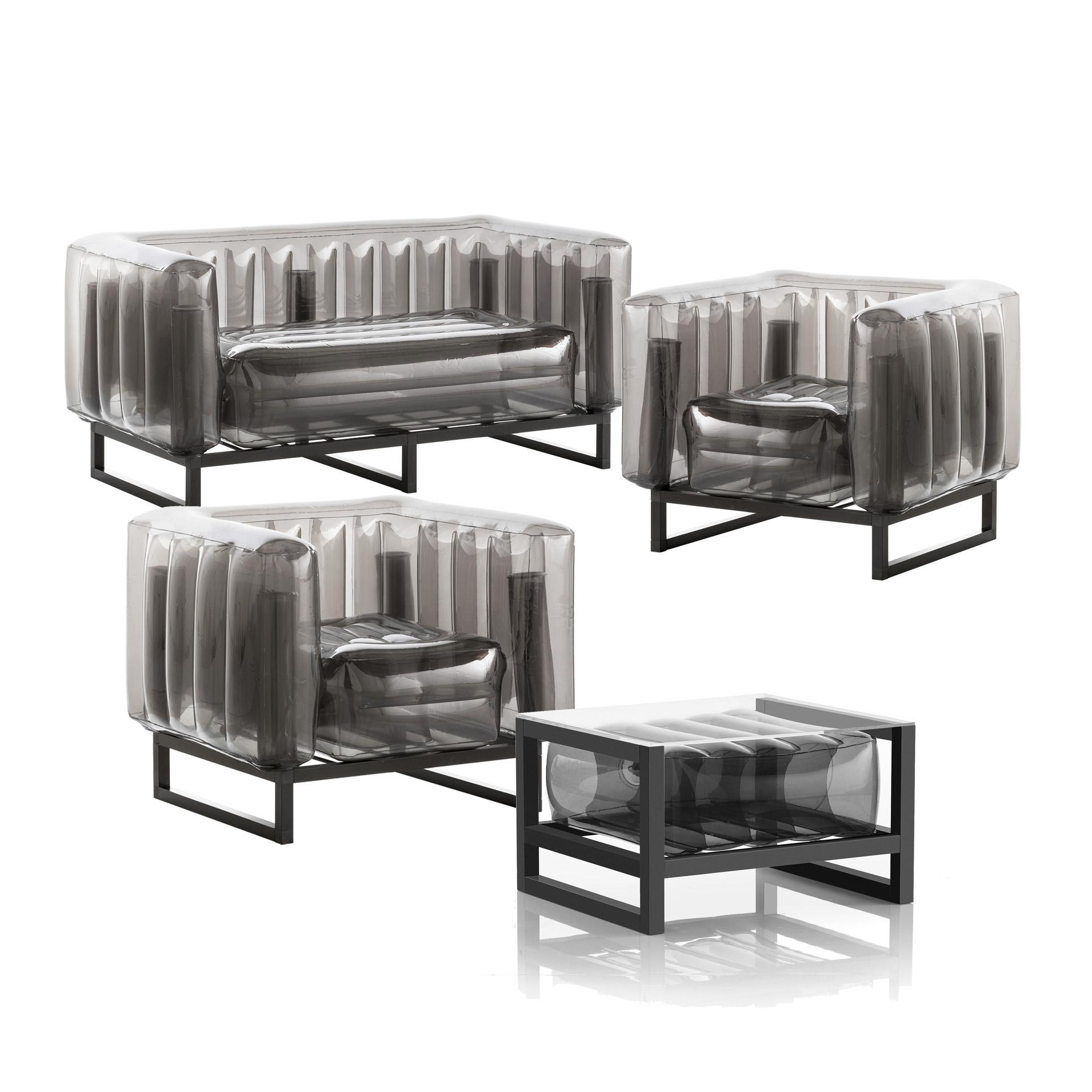 Salon de jardin design 1 canapé, 2 fauteuils et table basse