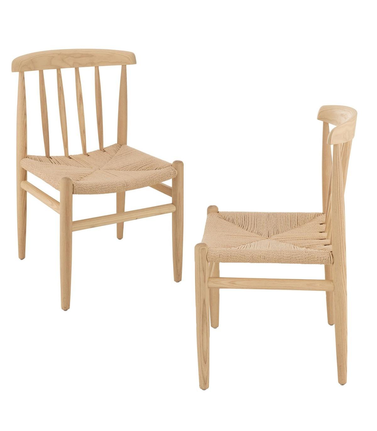 Lot de 2 chaises scandinave en bois naturel - Marron