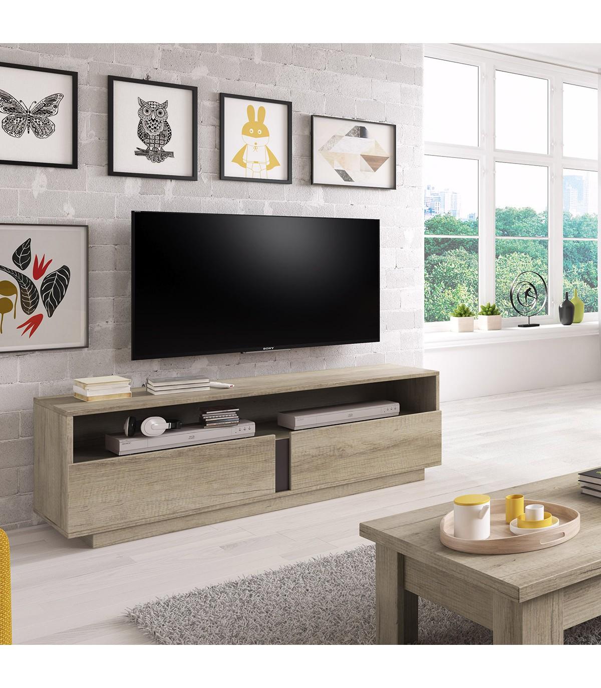Meuble TV 2 tiroirs avec grande niche H50cm - Marron