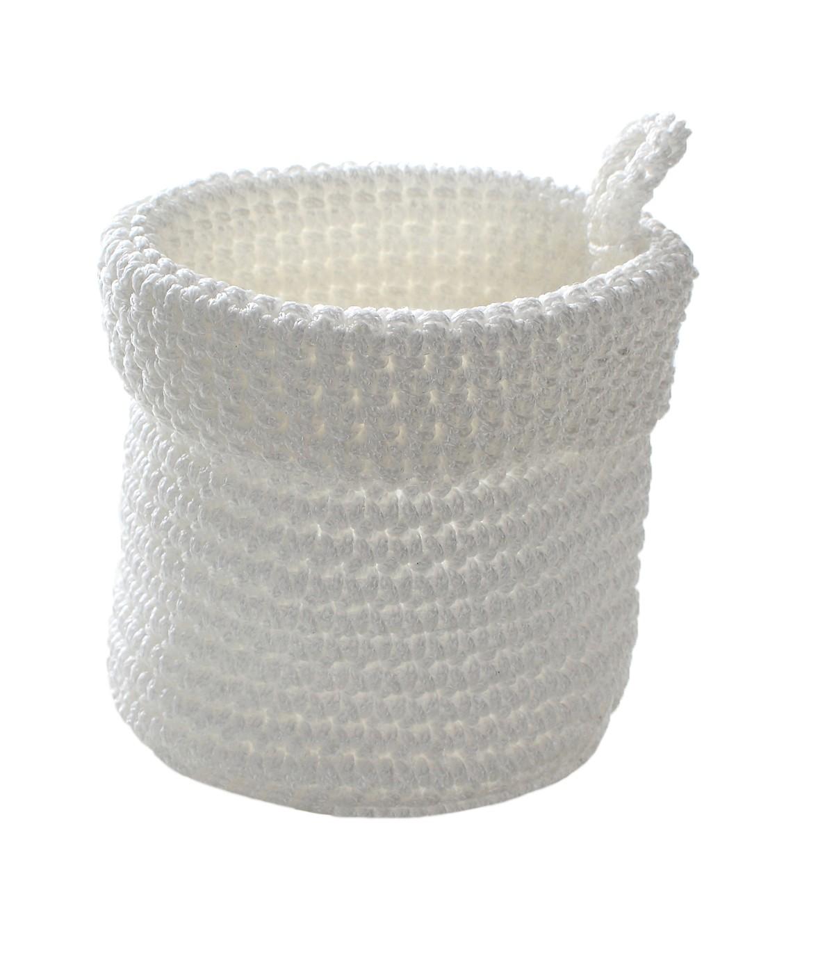 Panier rond maille crochet 12x10cm - Blanc