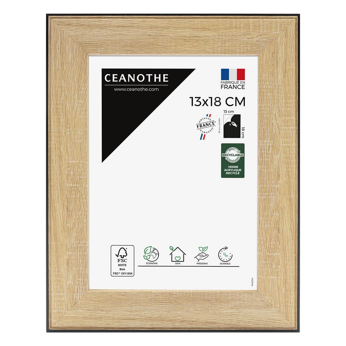 Cadre photo Newton bois noir 13x18 cm