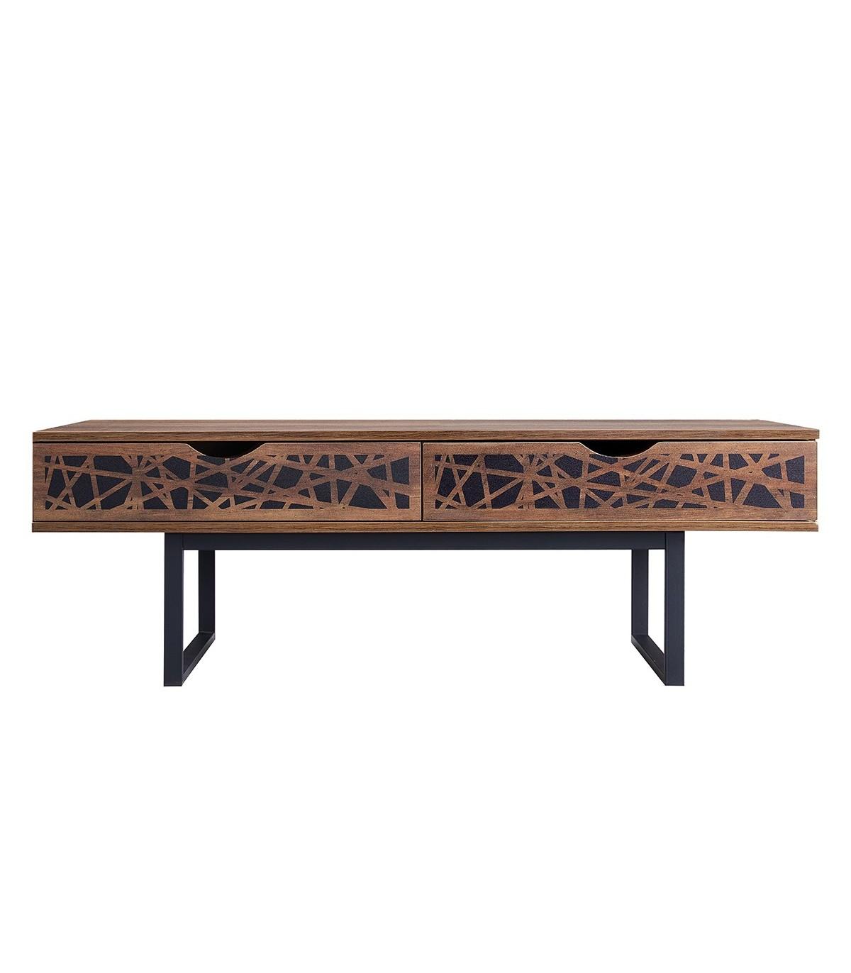 Table basse avec 2 tiroirs L120cm - Marron