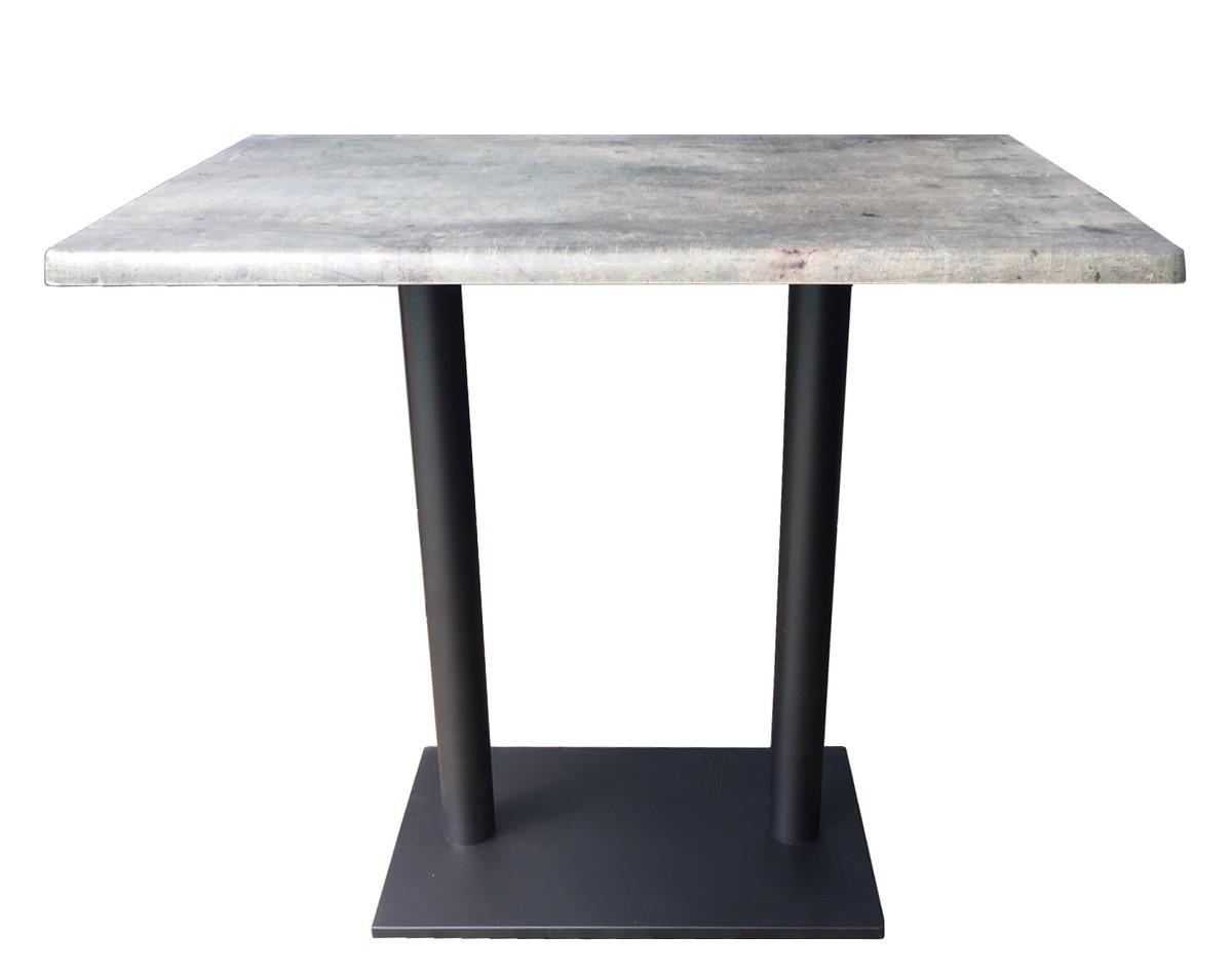 Table haute plateau aspect béton gris