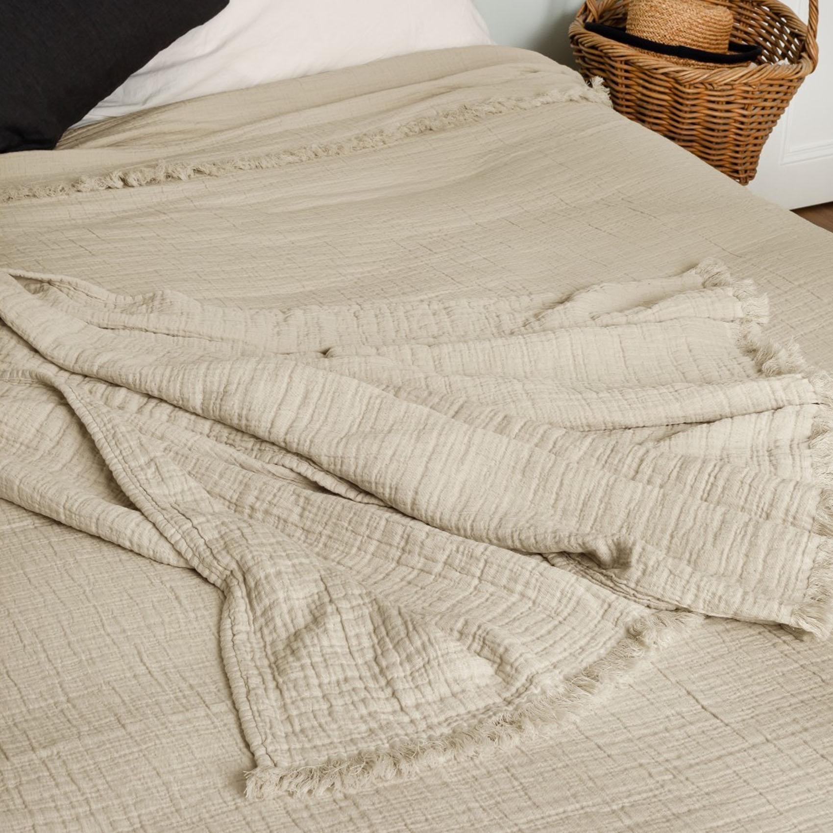 Dessus de lit en gaze de coton coton galet 250x180