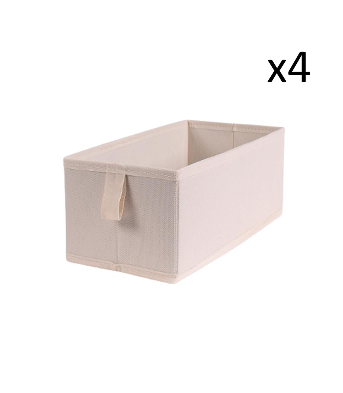 Lot de 4 tiroirs pliables intissés 28x14x11cm - Blanc