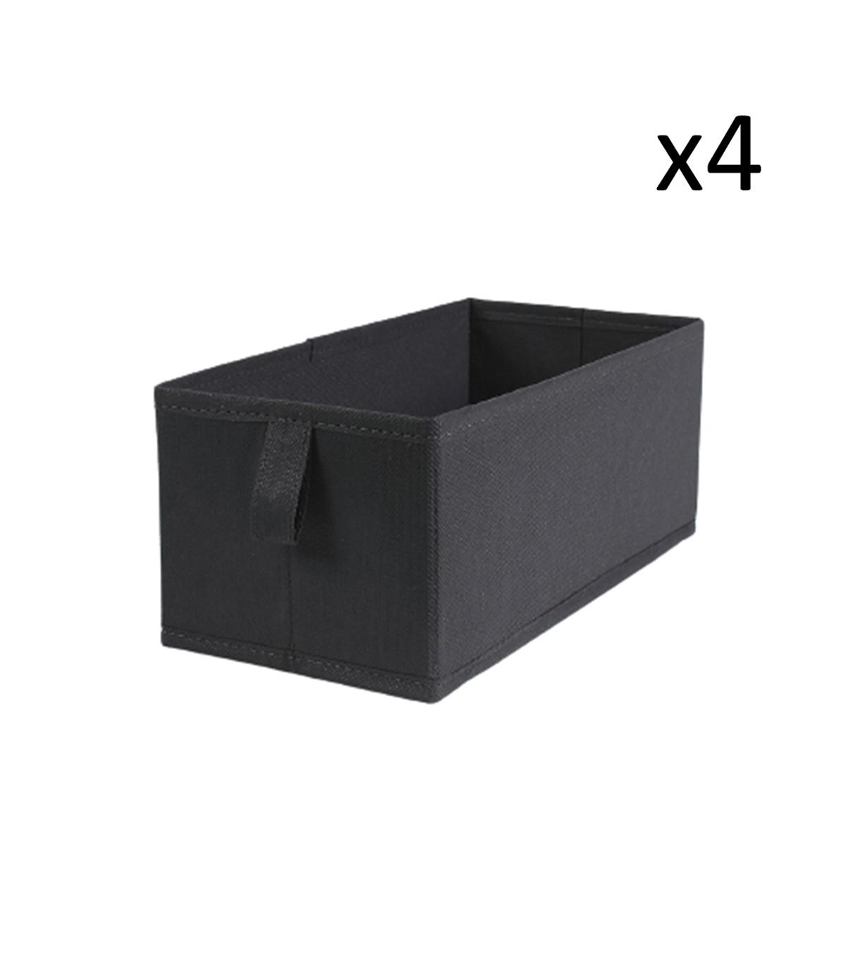 Lot de 4 tiroirs pliables intissés 28x14x11cm - Gris