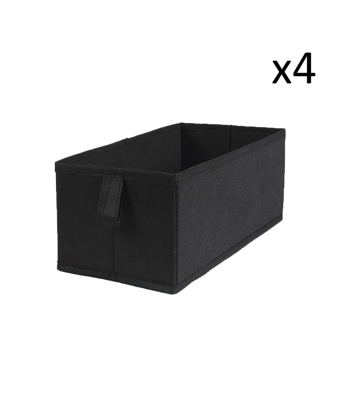 Lot de 4 tiroirs pliables intissés 28x14x11cm - Noir