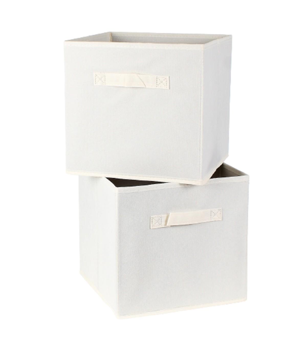 Cube de rangement intissé 28 cm - Lot de 2 - Blanc
