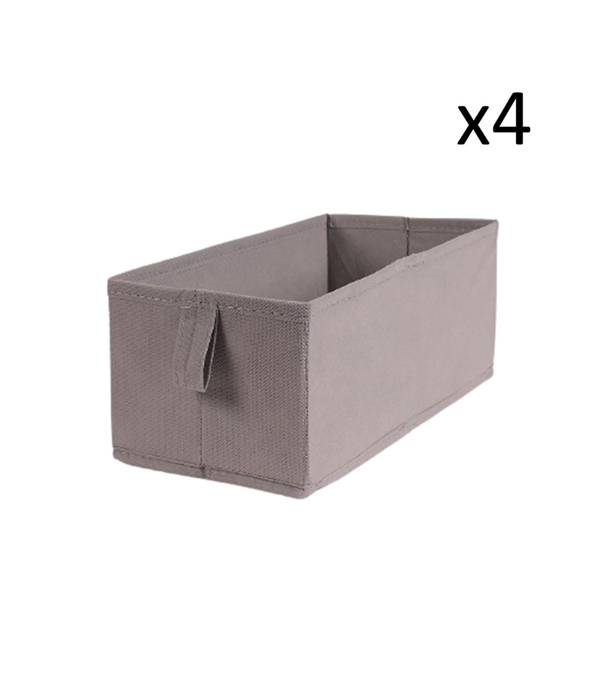 Lot de 4 tiroirs pliables intissés 28x14x11cm - Taupe