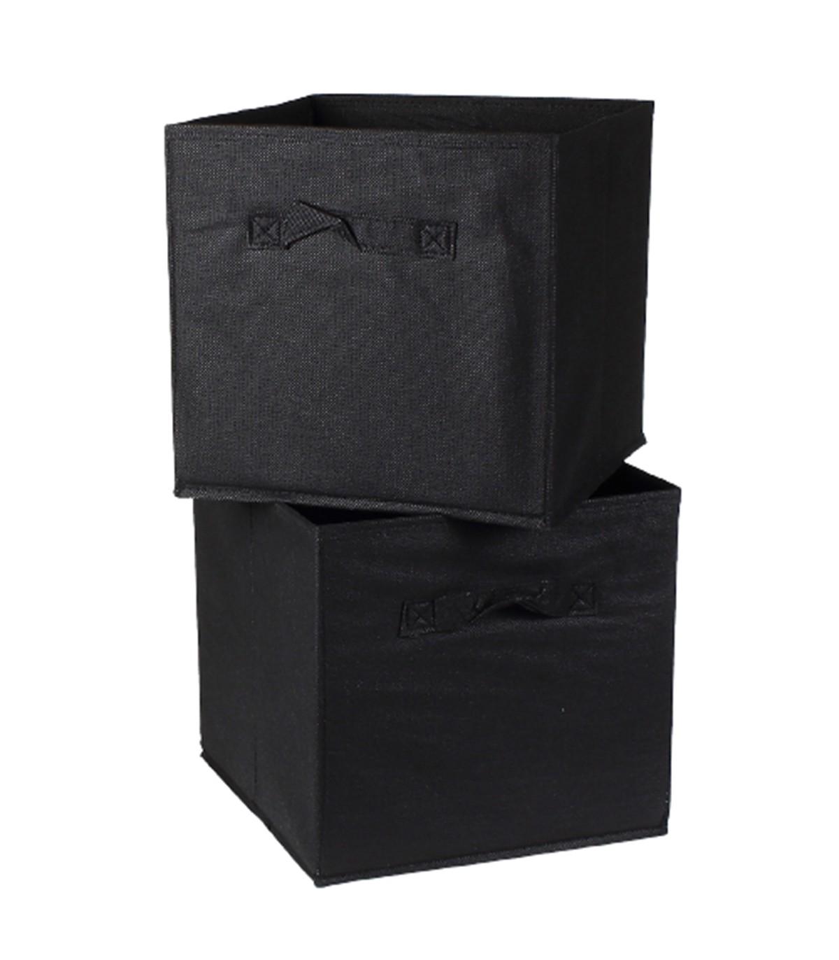 Cube de rangement intissé 28x28cm - Lot de 2 - Noir