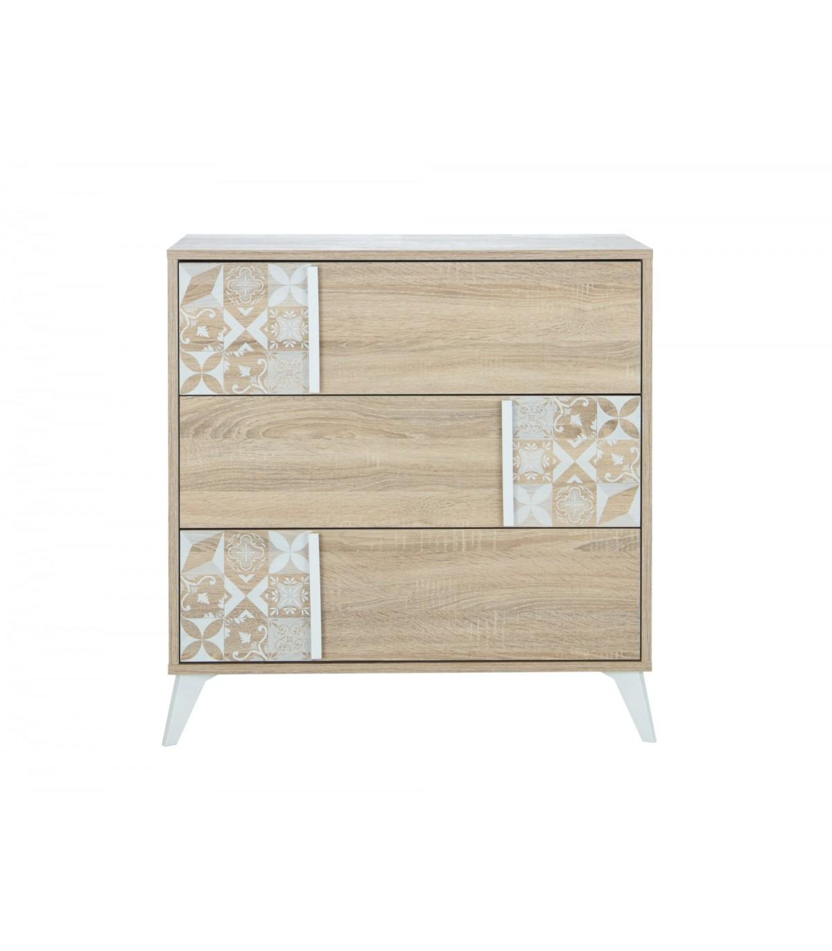Commode 3 tiroirs avec motifs blanc