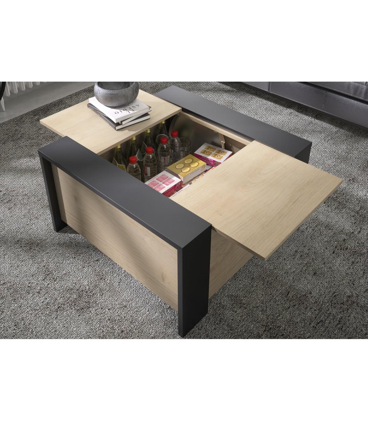 Table basse carré avec rangement bar H44cm - Marron