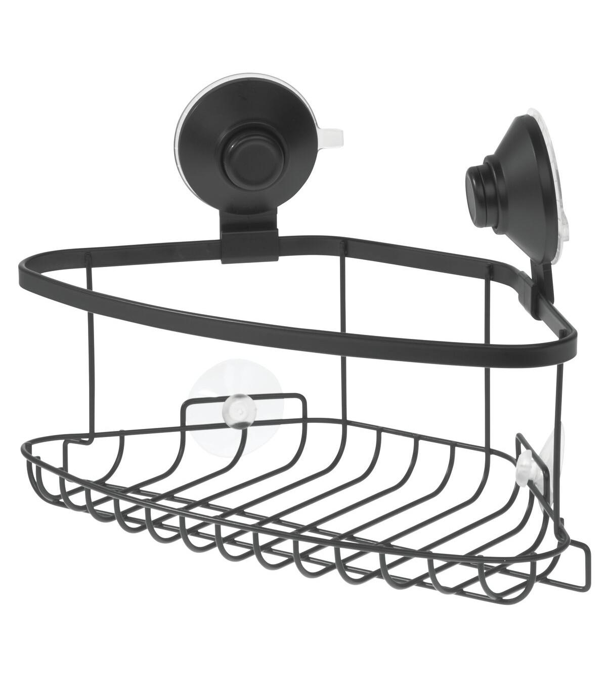 Panier de douche d'angle à ventouse - Noir