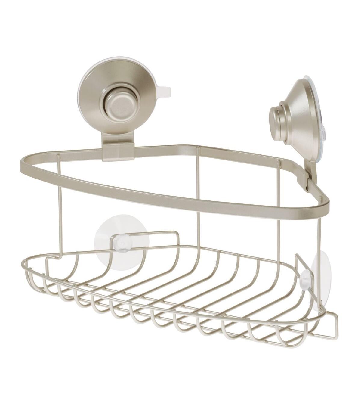 Panier de douche d'angle à ventouse - Argent