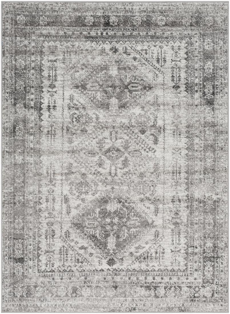 Tapis de salon classique gris et blanc 200x274