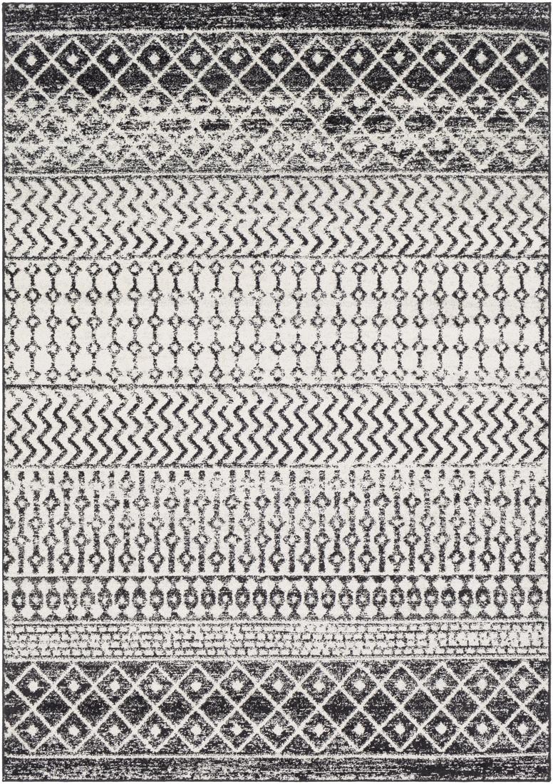 Tapis de salon contemporain noir, gris et blanc 200x274