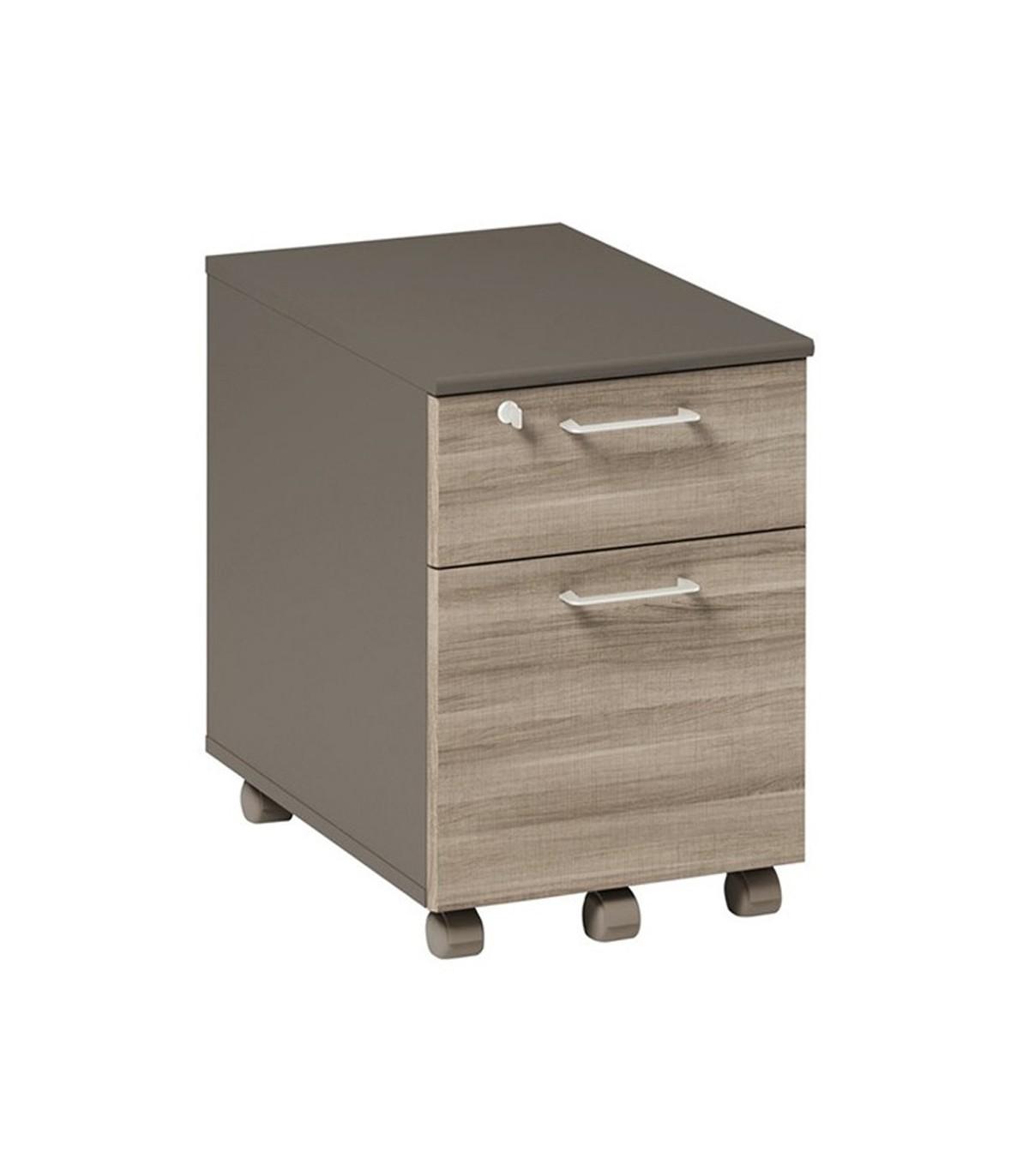 Caisson mobile 2 tiroirs avec roulettes - Marron foncé