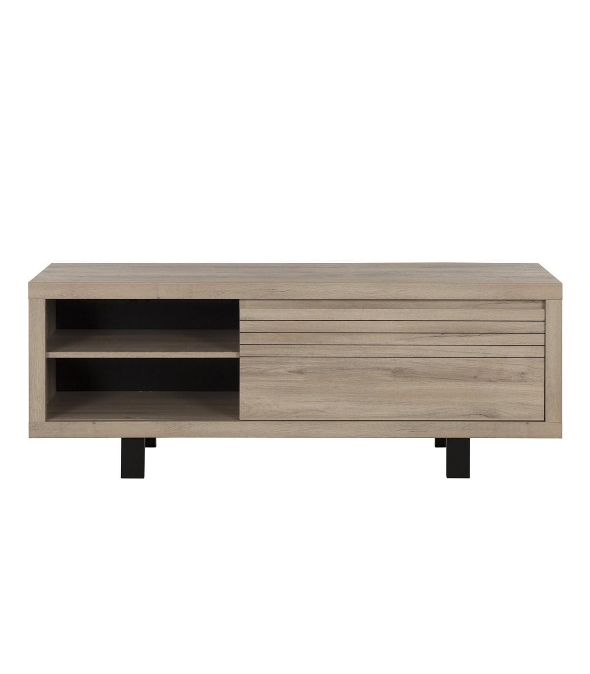 Meuble TV 1 tiroir et 2 niches avec pieds en métal - Marron