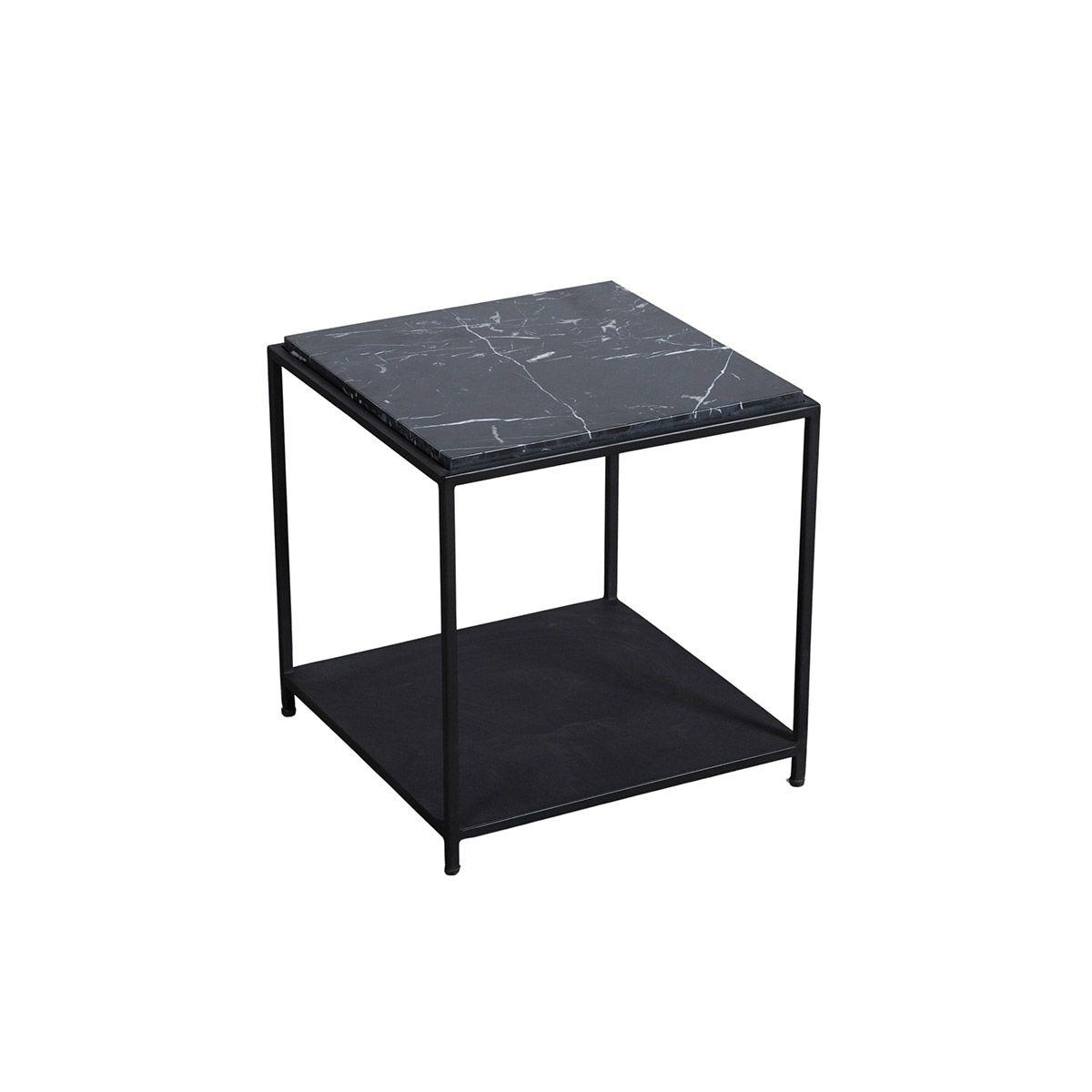 Bout de canapé carré marbre métal noir