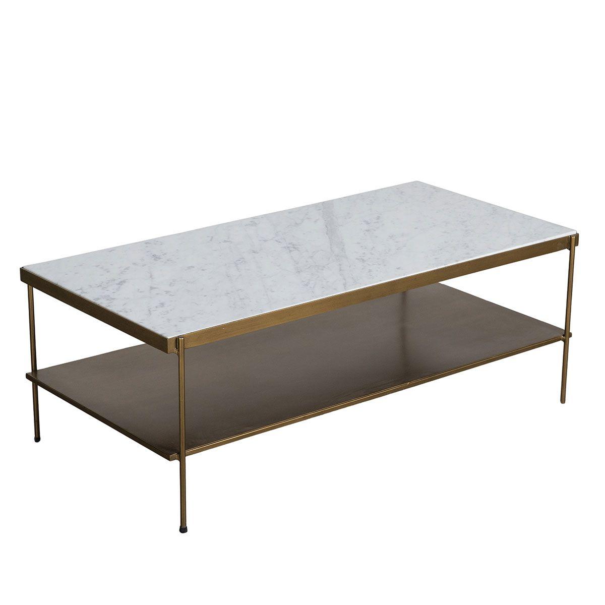 Table basse plateau marbre et métal blanc