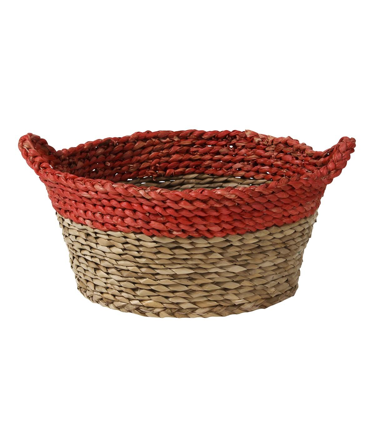 Panier rond bicolore avec anses - Rouge