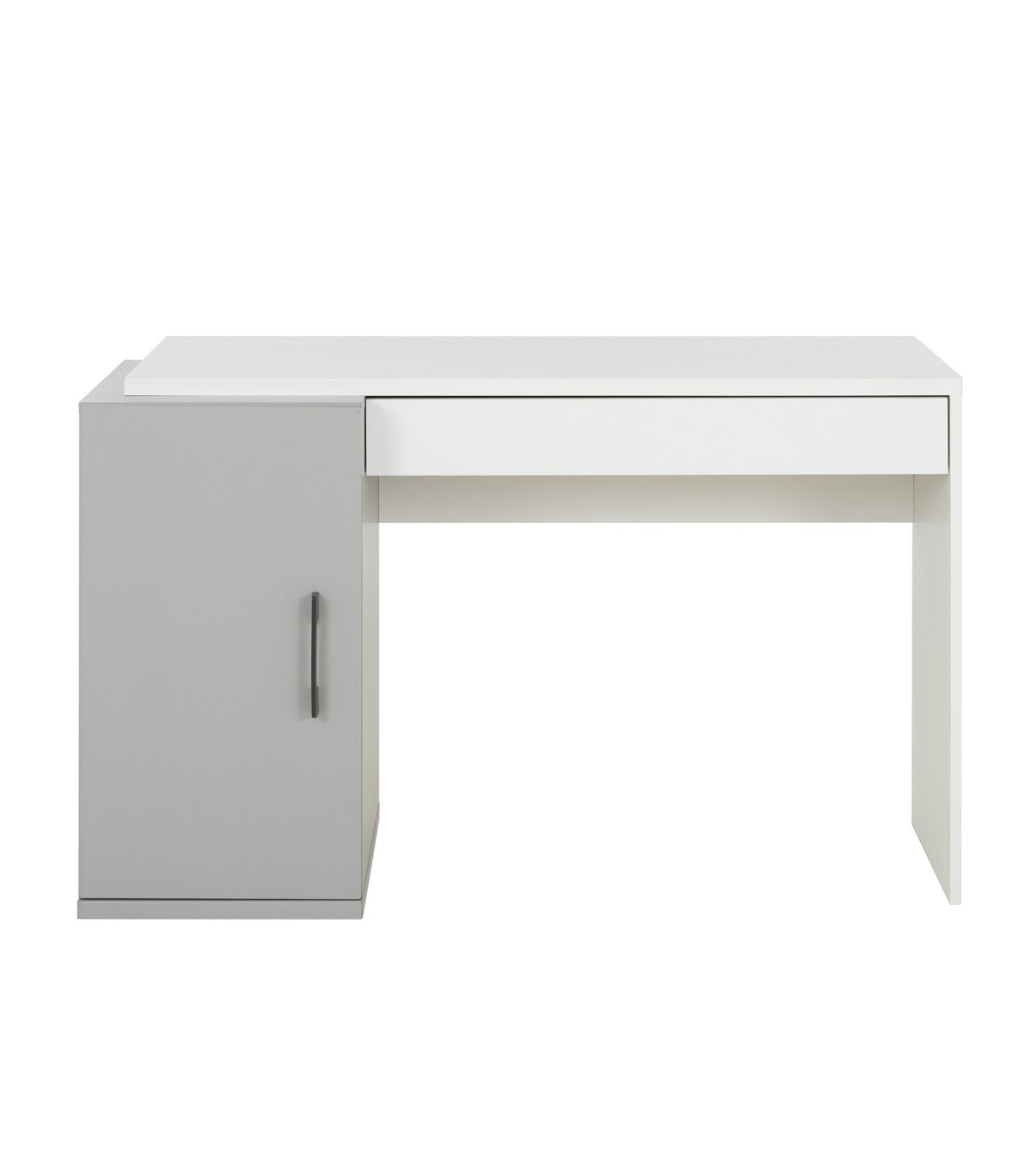 Bureau avec caisson de rangement et tiroir - Gris