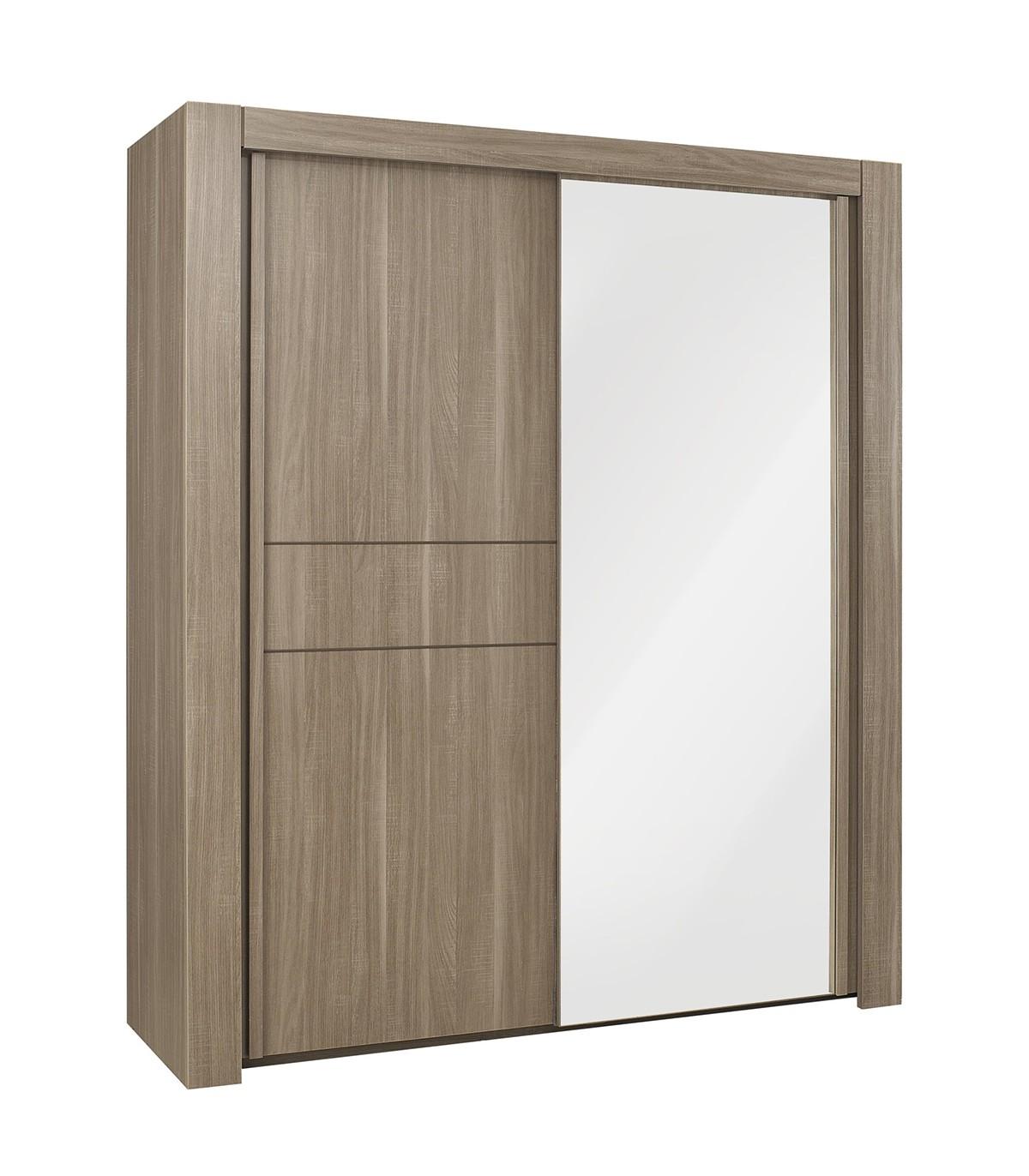Armoire avec porte miroir et penderie L200cm - Marron