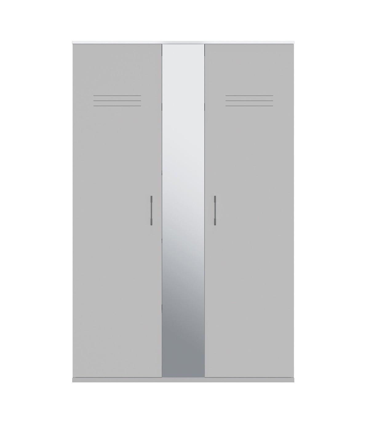 Armoire 2 portes et miroir central - Gris