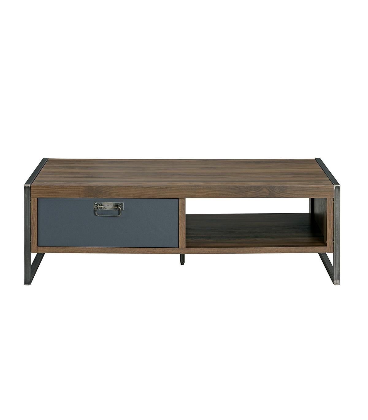 Table basse avec poignée et pieds métallique H40.5cm - Marron
