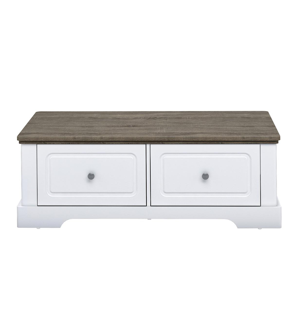 Table basse en bois avec 2 grands tiroirs L114,5cm - Blanc