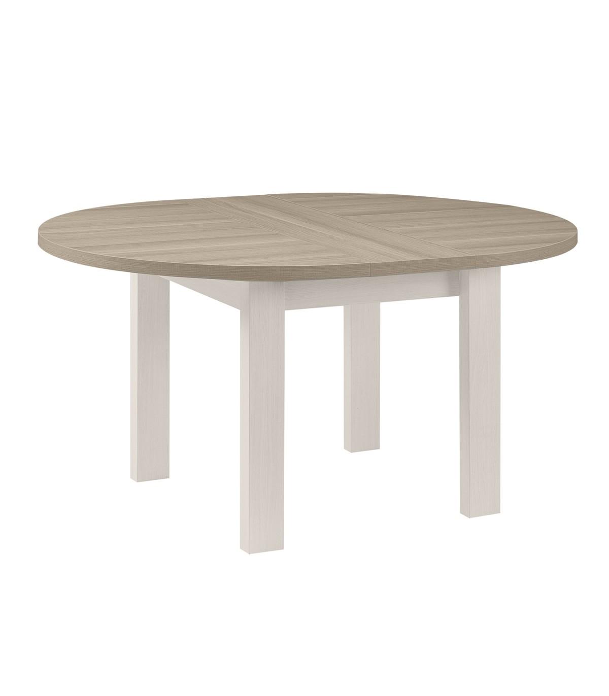 Table à manger ronde avec allonge incluse - Marron