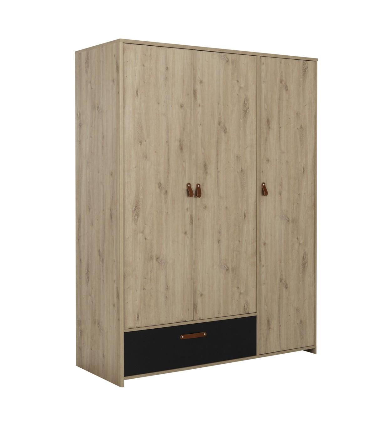 Armoire 3 portes 1 tiroir style industriel - Marron