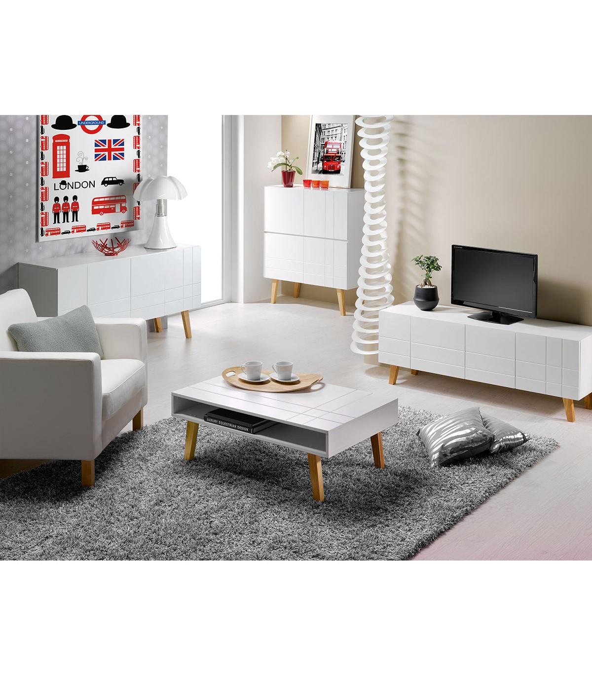 Meuble TV 4 portes style scandinave pieds en Pin massif - Blanc
