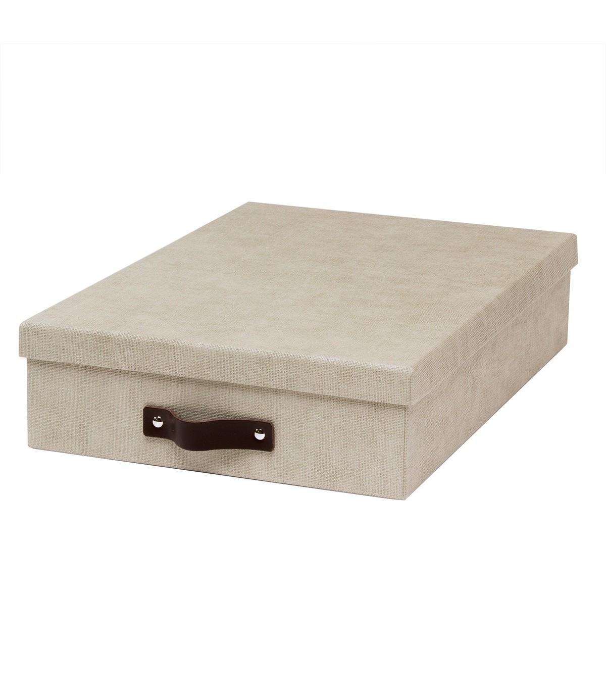 Boîte A4 avec poignée cuir - 35 x 26 x H8.5cm - Beige