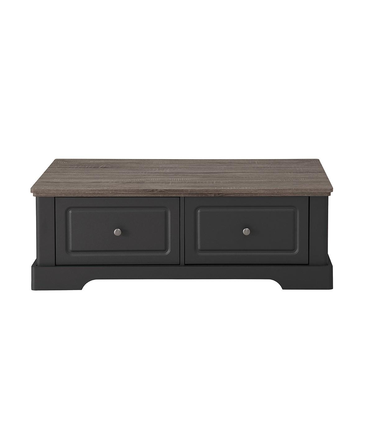 Table basse en bois avec 2 grands tiroirs L114,5cm - Taupe