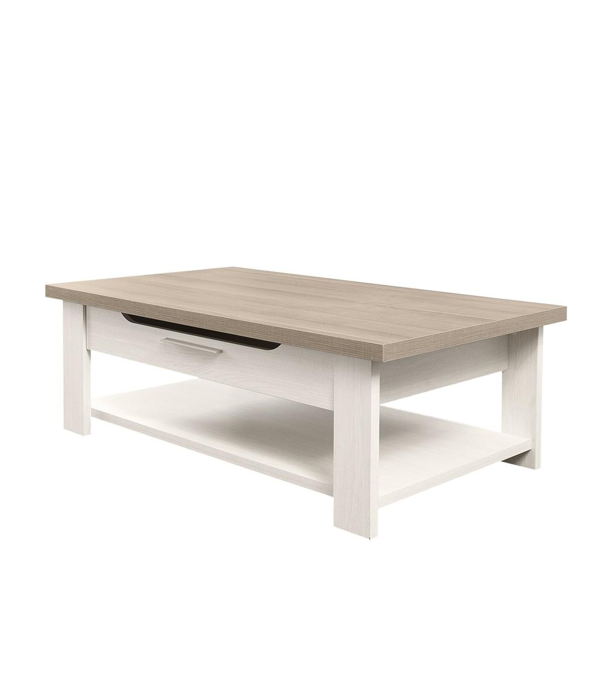 Table basse avec 1 tiroir et 1 tablette de rangement - Blanc