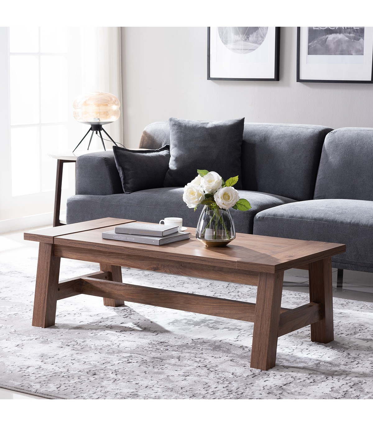 Table basse en bois style campagne - Marron