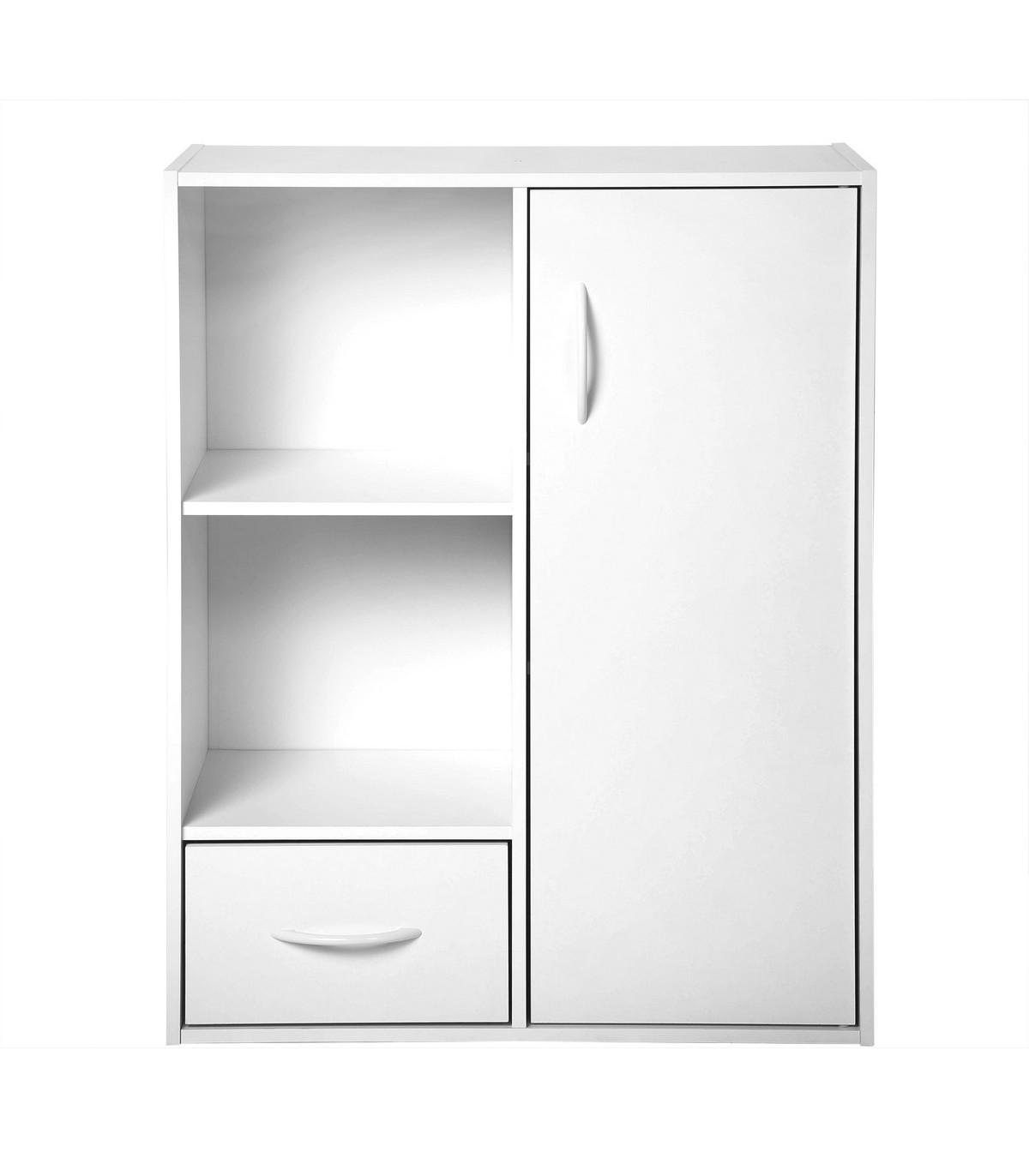 Etagère de rangement 2 casiers avec 1 tiroir et 1 placard - Blanc