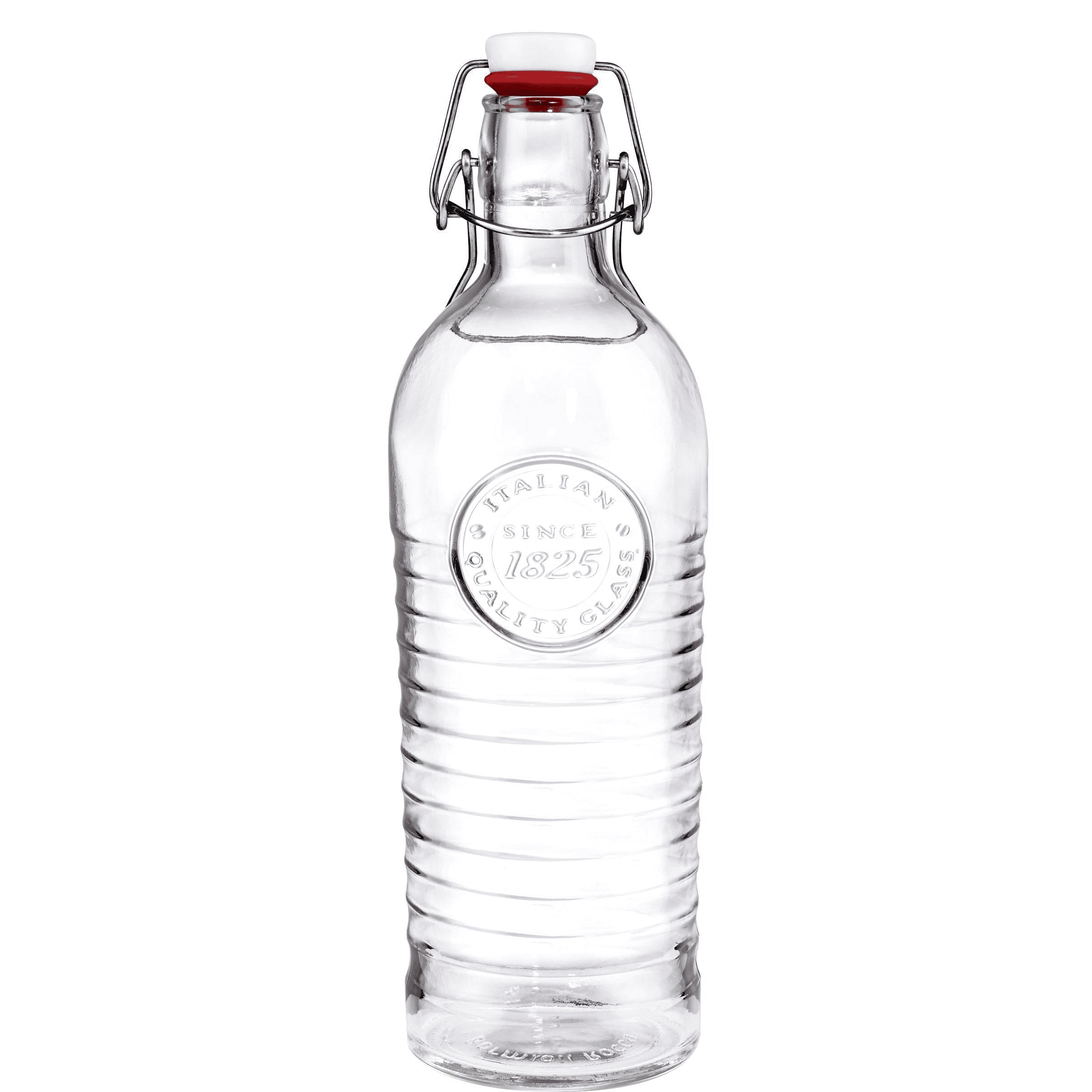 Bouteille d'eau en verre réutilisable bouchon clip 1,2L