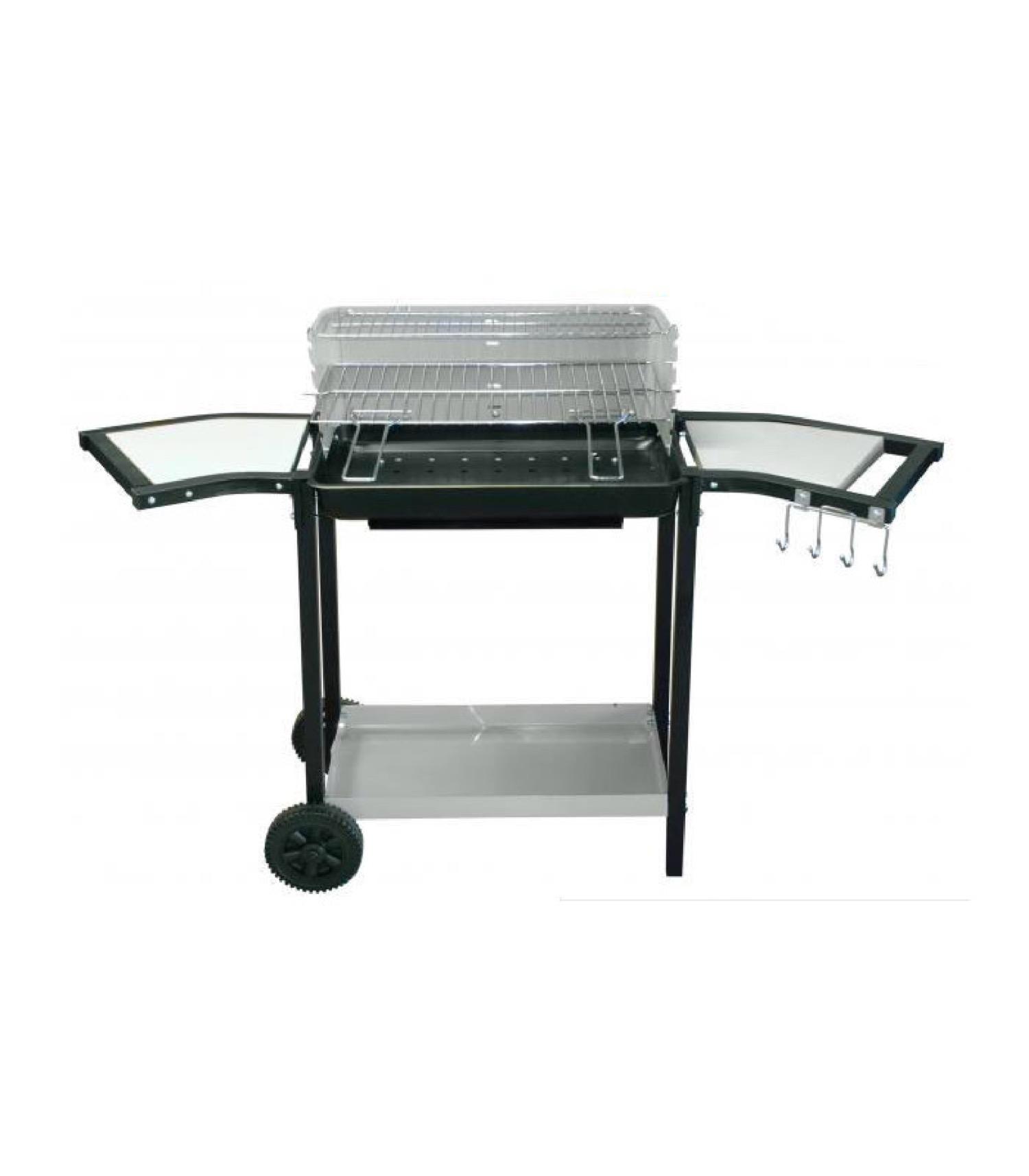 Barbecue double grille et repose-plats sur roulettes