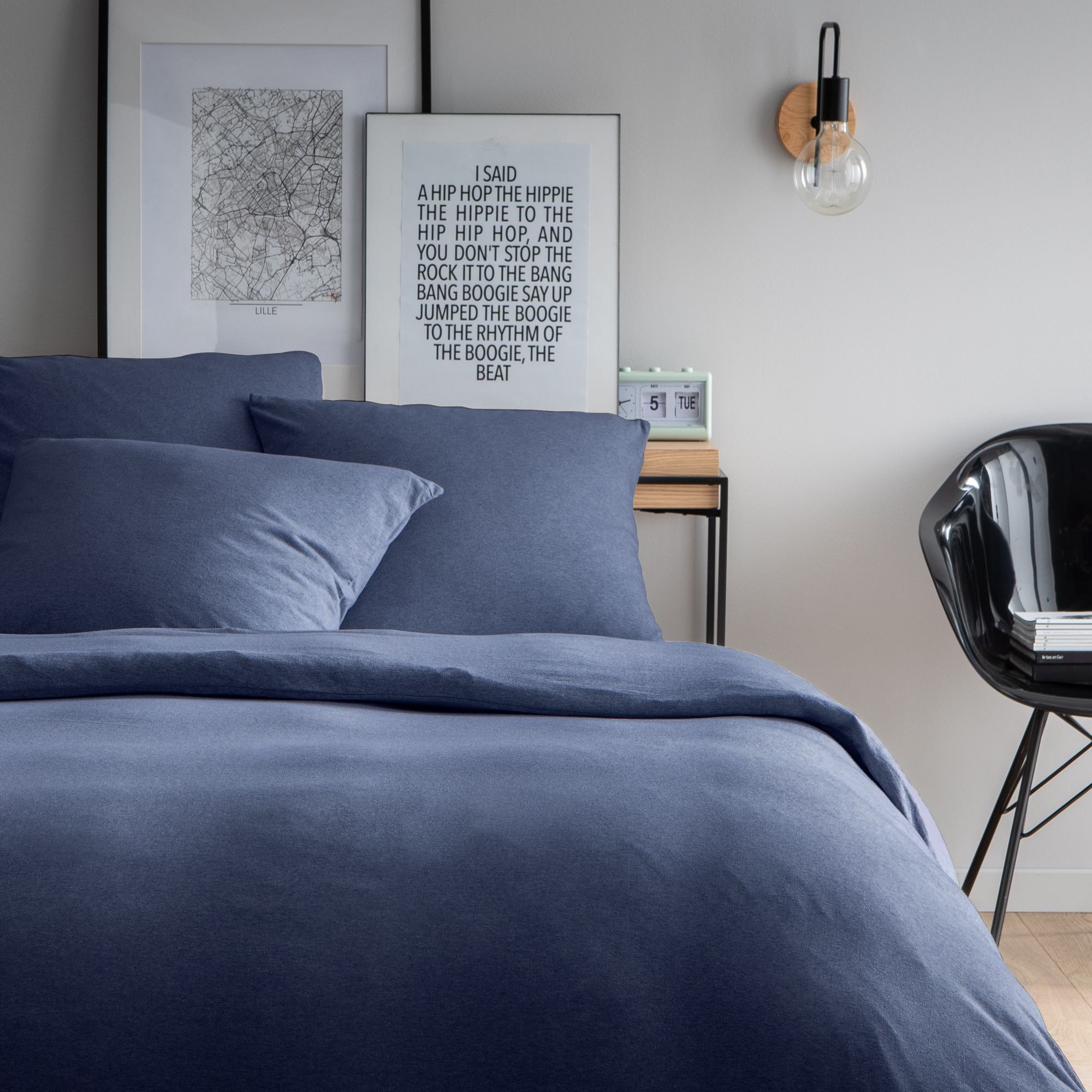Parure de lit unie en jersey de coton 260x240 cm